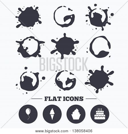 Paint, coffee or milk splash blots. Birthday party icons. Cake with ice cream signs. Air balloon with rope symbol. Smudges splashes drops. Vector