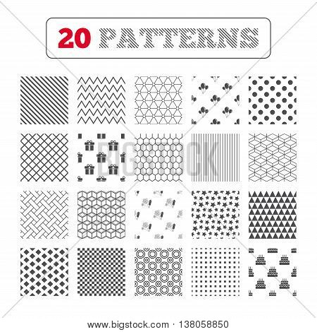 Ornament patterns, diagonal stripes and stars. Birthday party icons. Cake and gift box signs. Air balloons and fireworks symbol. Geometric textures. Vector