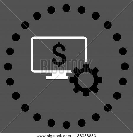 Financial Monitoring Options vector icon. Style is bicolor flat circled symbol, black and white colors, rounded angles, gray background.