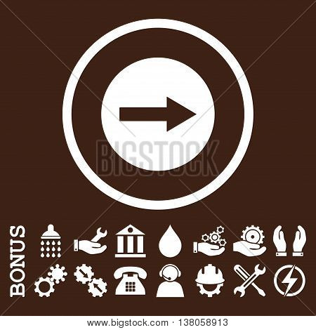Right Rounded Arrow vector icon. Image style is a flat pictogram symbol inside a circle, white color, brown background. Bonus images are included.