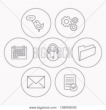 Lock, folder hand and e-mail icons. Bird message linear sign. Check file, calendar and cogwheel icons. Vector