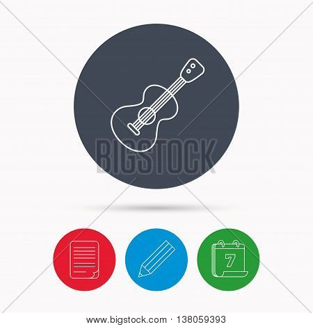 Guitar icon. Musical instrument sign. Band guitarist symbol. Calendar, pencil or edit and document file signs. Vector
