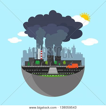 Industry earth concept. Vector illustration for global industrial. Flat cartoon. City building planet. World factory on blue sky. Plant isolated. Smoke, smog production. Pollution manufacturing sign.