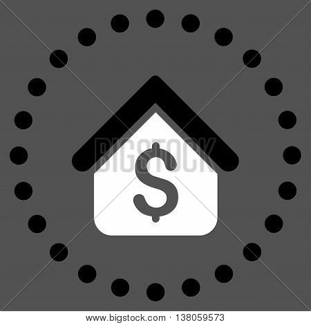 Loan Mortgage vector icon. Style is bicolor flat circled symbol, black and white colors, rounded angles, gray background.