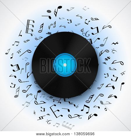 Abstract musical background with vinyl record album lp disc, black notes isolated on white backdrop. Vector illustration for music flyer poster brochure. Old long play disco plate. Rock sound concept.