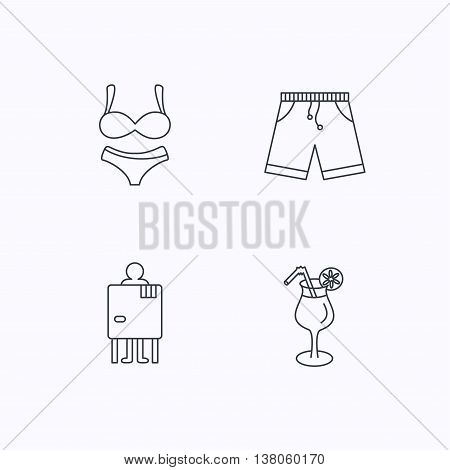 Cocktail, lingerie and shorts icons. Changing cabin linear sign. Flat linear icons on white background. Vector