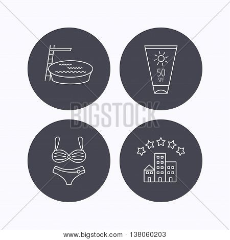Hotel, swimming pool and sun cream icons. Lingerie linear sign. Flat icons in circle buttons on white background. Vector