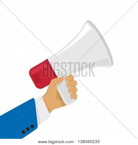 Vector illustration of a loudspeaker in a man hand. Illustration in a flat style human megaphone in his hand.