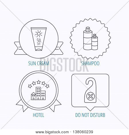 Hotel, shampoo and sun cream icons. Do not disturb linear sign. Award medal, star label and speech bubble designs. Vector