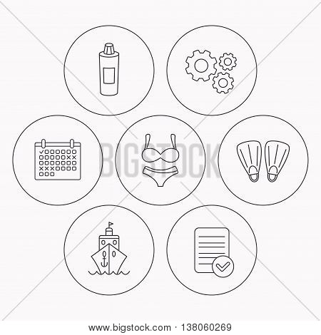 Cruise, swimming flippers and lingerie icons. Shampoo bottle linear sign. Check file, calendar and cogwheel icons. Vector