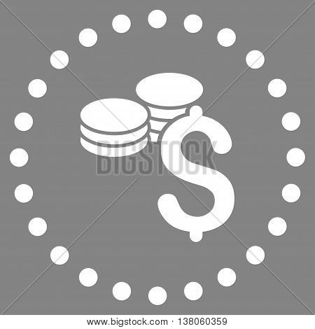 Dollar Coins vector icon. Style is flat circled symbol, white color, rounded angles, gray background.