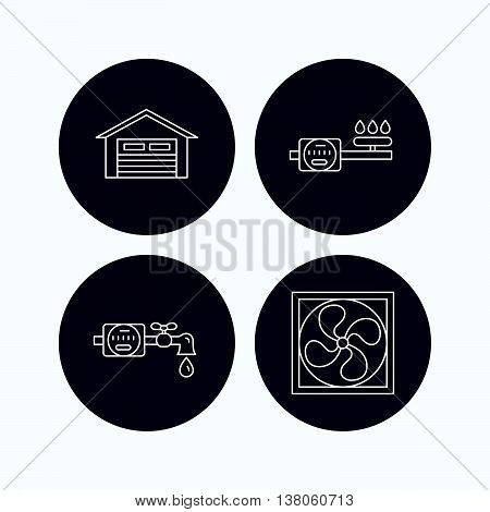 Ventilation, garage and water counter icons. Gas counter linear sign. Flat icons in circle buttons on white background. Vector