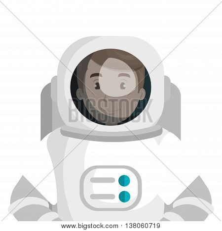 Male astronaut with equipment cartoon, vector illustration graphic design.