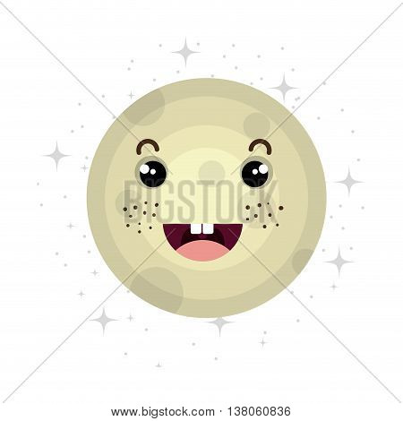 Planet of milky way galaxy, colorful isolated moon flat icon vector illustration graphic.