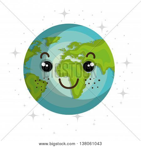 Planet of milky way galaxy, colorful isolated flat earth icon vector illustration graphic.