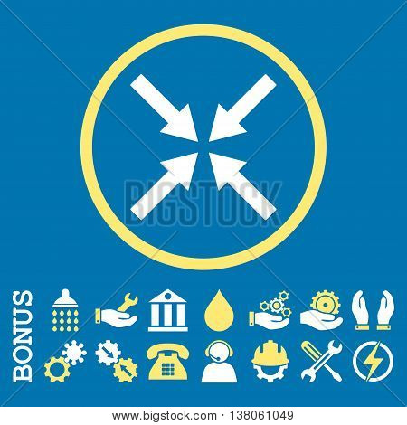Center Arrows vector bicolor icon. Image style is a flat pictogram symbol inside a circle, yellow and white colors, blue background. Bonus images are included.