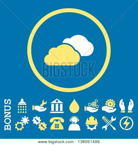 Clouds vector bicolor icon. Image style is a flat pictogram symbol inside a circle, yellow and white colors, blue background. Bonus images are included.