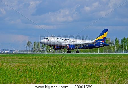 ST PETERSBURG RUSSIA - MAY 11 2016. VP-BWJ Donavia Airbus A319-111 airplane closeup view. Airplane rides on the runway after landing in Pulkovo International airport in St Petersburg Russia