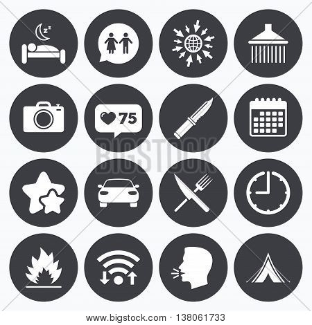 Calendar, wifi and clock symbols. Like counter, stars symbols. Hiking trip icons. Camping, shower and wc toilet signs. Tourist tent, fork and knife symbols. Talking head, go to web symbols. Vector
