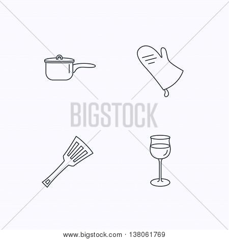 Saucepan, potholder and wineglass icons. Kitchen utensils linear sign. Flat linear icons on white background. Vector