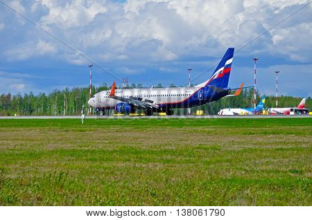 ST PETERSBURG RUSSIA - MAY 11 2016. VQ-BVP Aeroflot Boeing 737 Next Gen airplane closeup. Airplane rides on the runway after arrival at Pulkovo International airport in St Petersburg Russia