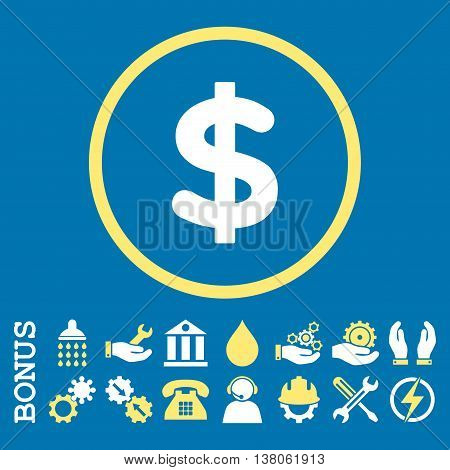 Dollar vector bicolor icon. Image style is a flat pictogram symbol inside a circle, yellow and white colors, blue background. Bonus images are included.