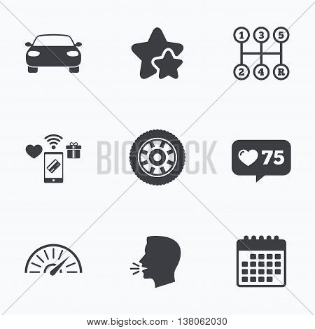 Transport icons. Car tachometer and mechanic transmission symbols. Wheel sign. Flat talking head, calendar icons. Stars, like counter icons. Vector