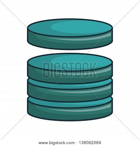 Hosting and cloud computing data base, isolated flat icon vector illustration.