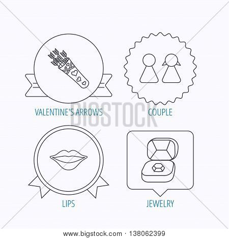 Couple, kiss lips and jewelry icons. Valentine amour arrows linear sign. Award medal, star label and speech bubble designs. Vector
