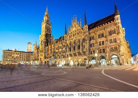 Night panorama of Marienplatz and Munich city hall in Munich Germany.