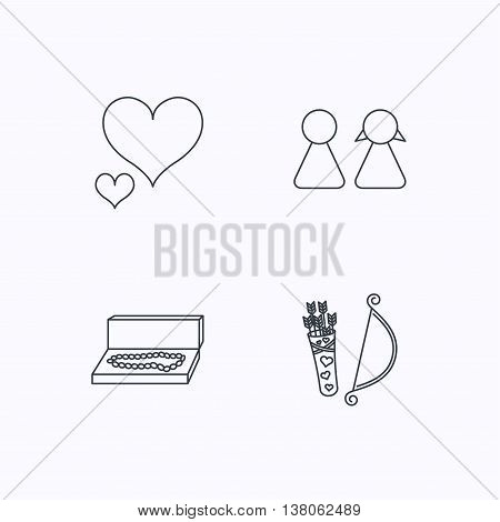Love heart, jewelry and couple icons. Valentine amour arrows linear signs. Flat linear icons on white background. Vector