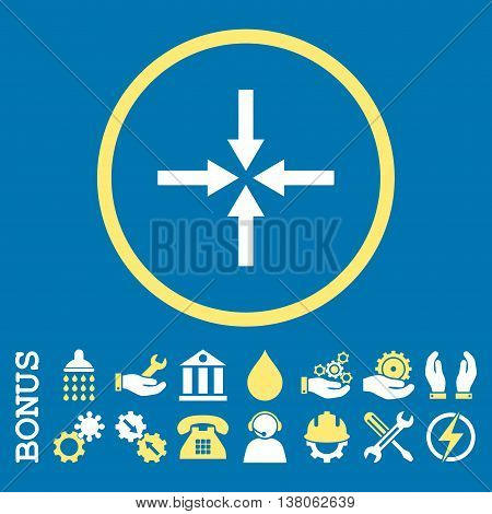 Impact Arrows vector bicolor icon. Image style is a flat pictogram symbol inside a circle, yellow and white colors, blue background. Bonus images are included.