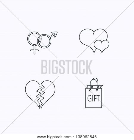 Love heart, gift bag and male with female icons. Broken heart or divorce linear signs. Flat linear icons on white background. Vector