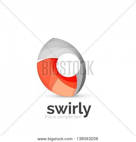 Abstract swirly round logo template. illustration