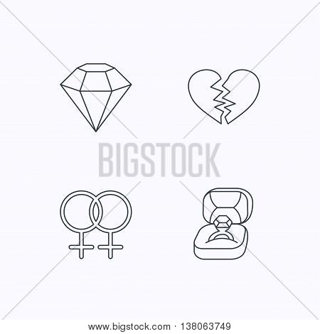 Broken heart, diamond and engagement ring icons. Lesbian love linear sign. Flat linear icons on white background. Vector