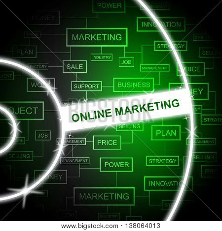 Online Marketing Represents Email Lists And E-marketing