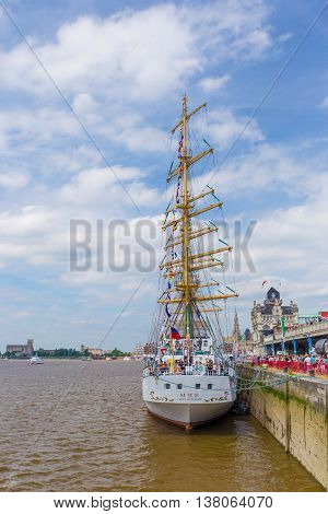Russian sailing ship Mir (Peace) seen in Antwerp during the Tall Ships Races 2016 event