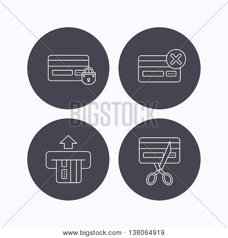 Bank credit card icons. Banking, blocked and expired debit card linear signs. Flat icons in circle buttons on white background. Vector