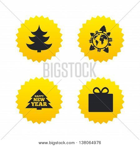 Happy new year icon. Christmas trees and gift box signs. World globe symbol. Yellow stars labels with flat icons. Vector