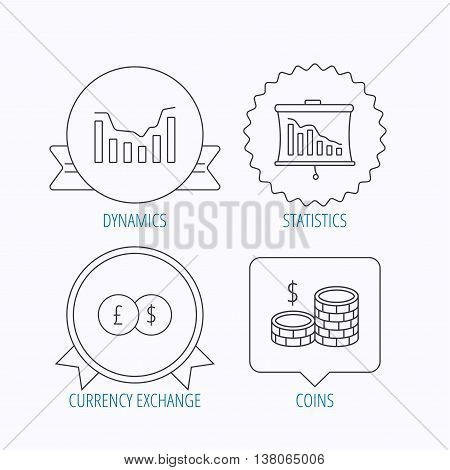 Banking, cash money and statistics icons. Dynamics, currency exchange linear signs. Award medal, star label and speech bubble designs. Vector