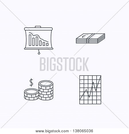 Chart, cash money and statistics icons. Coins linear sign. Flat linear icons on white background. Vector