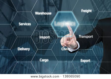 Business technology concept - Business man touching the logistics icon with business success virtual screen use for importexportlogistics background.