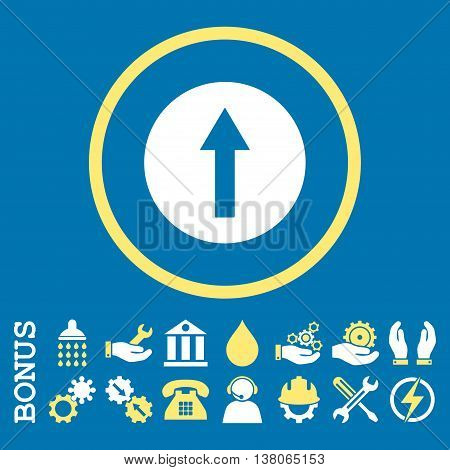 Up Rounded Arrow vector bicolor icon. Image style is a flat pictogram symbol inside a circle, yellow and white colors, blue background. Bonus images are included.