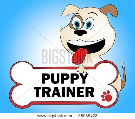 Puppy Trainer Shows Doggie Puppies And Teach