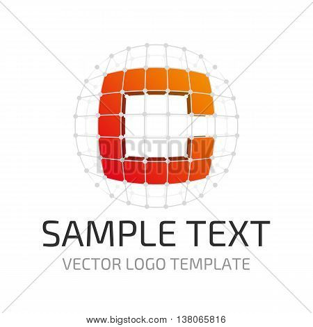 Vector logo template letter C. Icon stylized letter C in the framing grid.