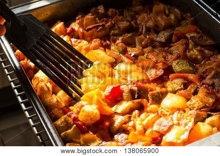 juicy vegetable stew cooked in the oven