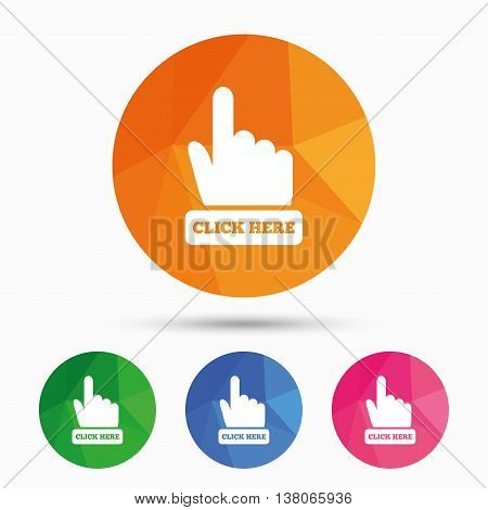 Click here hand sign icon. Press button. Triangular low poly button with flat icon. Vector