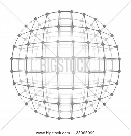Vector illustration wireframe 3D mesh polygonal vector sphere. Network line, design sphere, dot and structure.