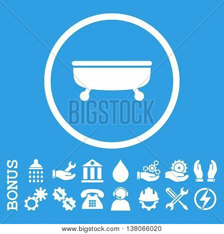 Bathtub vector icon. Image style is a flat pictogram symbol inside a circle, white color, blue background. Bonus images are included.