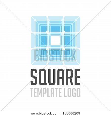Vector logo template letter glass cube. Icon cube divided into its constituent parts. Creative logo.